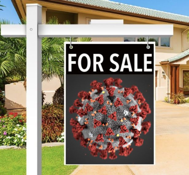 Covid 19 Cell on Real Estate Sign